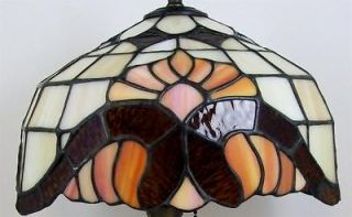 Nouveau Style Leaded Glass Lamp Shade Root Beer & Peach Slightly Oval