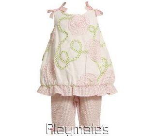 Bonnie Jean Infant Girls Bubble Top with Bonaz Trim Plus Capri Pants