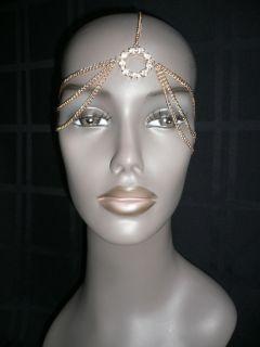 NEW WOMEN GOLD HEAD METAL CHAIN JEWELRY GRECIAN HAIR ACCESSORIES