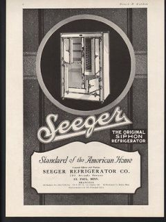 1921 SEEGER REFRIGERATOR ICE BOX KITCHEN DECOR ST. PAUL MINNESOTA