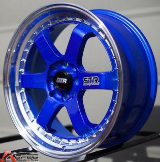 17X7 STR 510 4X100 BLUE WHEEL FIT JDM CIVIC INTEGRA EG EK DC2 EM MINI