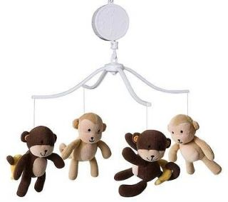 and Dark Brown Jungle Safari Monkeys w/ Banana Musical Boy/Girl Mobile