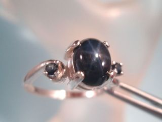SAPPHIRE  Genuine Blue Star Sterling Ring 2.30ct Blue Sapphire acc