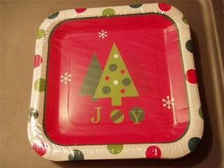 Christmas Trees With A Red And Green Polka Dot Border Paper Plates.