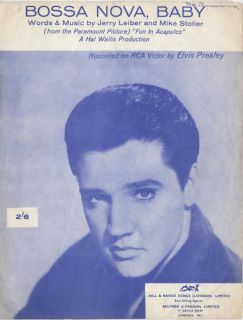 ELVIS PRESLEY  60S Sheet music BOSSA NOVA, BABY