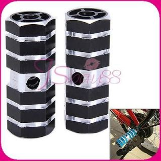Pair of BMX Cycling Bike Parts Bicycle 3/8 Axle Alloy Foot Pegs Black