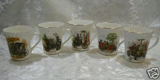 Antique Car Fine Bone China Set of 5 Mugs Cups Crown Staffordshire