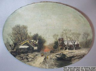1903 Original Oil Painting On Canvas American Village Scene In The
