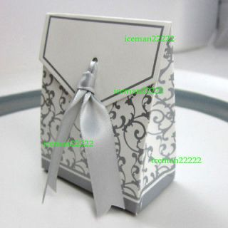 Newly listed 100 x Favor Boxes with Imprinted, Silver Ribbon (w27)