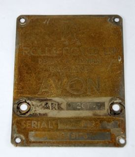 RAF Aircraft Hawker Hunter Rolls Royce Avon Jet Engine Plate Mk207