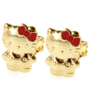 Gold Filled 18K Small Earrings Hello KITTY Pink Bow Kids Infants Push