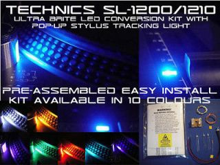 Technics SL1200/1210 Ultra Brite LED Kit With Stylus Light  Blue/White