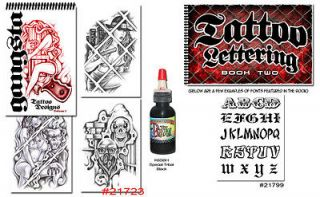 Tattoo Supplies 2 Book Gangster Art Prison Style Lettering Script FREE