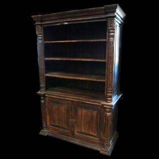 Bookcase Vintage brown spectacular Reclaimed wood carvings 2 doors