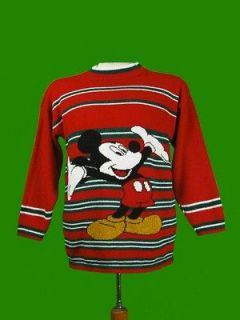Vtg DISNEY MICKEY MOUSE SWEATER RED & GREEN STRIPE CHRISTMAS COLOR