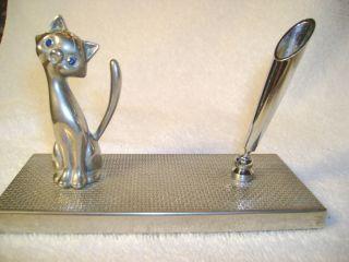 Vintage Kitty CAT Pen Holder Kitten Figurine Blue Cut Glass Eyes