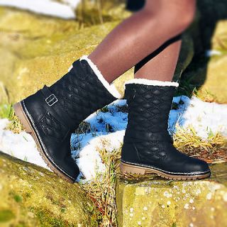 WOMENS GIRLS WINTER FAUX FUR QUILTED FLAT SNOW ANKLE MID CALF BOOTS