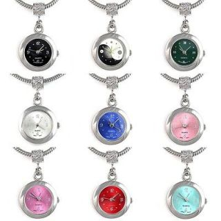 Silver Dangle European Quartz Watch Spacer Charm Bead For Bracelet
