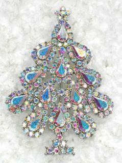 CLEAR AB RHINESTONE CRYSTAL CHRISTMAS TREE PIN BROOCH D187