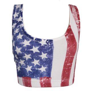 AMERICAN FLAG USA SPORTS BRA BOOBTUBE BRALET CROP TOP 8 10 12 14