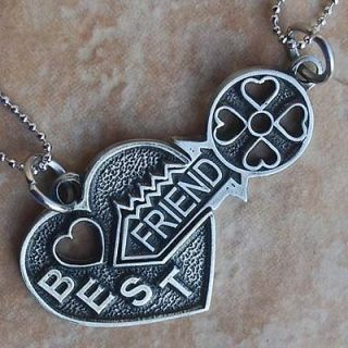 Friendship Best Friends W Friend Key Jigsaw split heart silver pewter