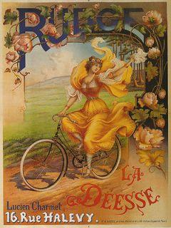 RUDGE Fashion Lady Bicycle Bike Yellow Dress Fine Vintage Poster Repro