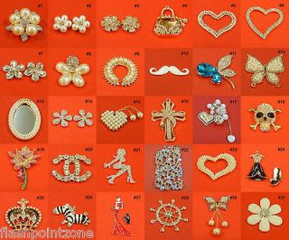 Pearls Rhinestones Crystal Embellishment Flatback Brooches Wedding