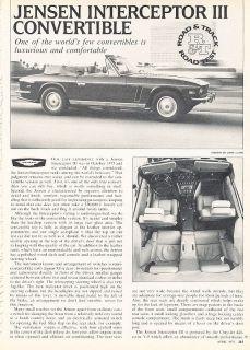 1976 Jensen Interceptor III Convertible   Road Test   Classic Article