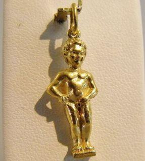 GOLD 3D MANNEKEN PIS BOY PEEING BRUSSELS BELGIUM CHARM PENDANT 4.1gr