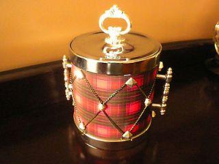 Ice Bucket Red Scottish Drum Look Home Decor EUC