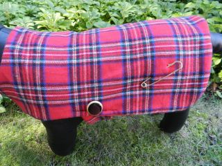 RED TARTAN PLAID FLANNEL/ FLEECE DOG COAT WITH KILT PIN starting at $