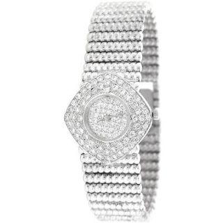 BUECHE GIROD Swiss Quartz 18K White Gold Ladies Diamond Watch PRE