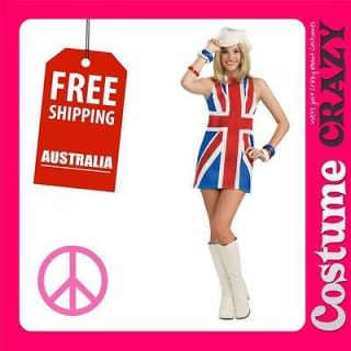 BRITISH INVASION 60s 70s UNION JACK WOMENS ADULT FANCY DRESS HALLOWEEN