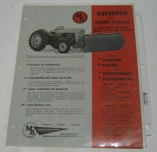 MB ca. 1953   1960 Sweeper for Ford Tractor Sales Sheet