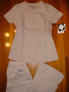 Greys Anatomy Mock Wrap Top & Pant Khaki Scrubs Set Nursing Uniforms