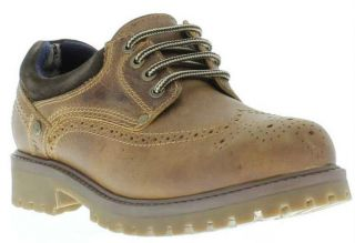 Wrangler Shoes Genuine Brogue Mens Heavy Duty Leather Shoe Brown Sizes