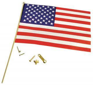 DOLLHOUSE MINIATURES HARDWARE AMERICAN FLAG W/ GOLD POLE & HARDWARE #