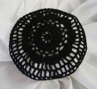 Hair Net Bun Cover Black Size Medium Hand Crocheted Amish Mennonite