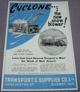 1948 CANADA SNOW BLOWER QUEBEC QC AD CYCLONE TRUCK TRACTOR MOUNTED