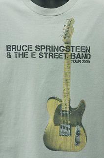 Bruce Springsteen L Beige Gray T Shirt 2009 Tour Large Guitar E Street