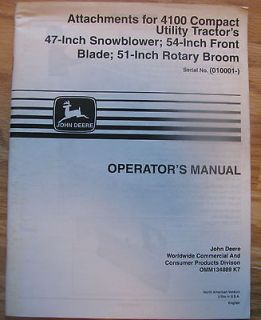 47 Snowblower 54 Blade 51 Broom Operators Manual on 4100 Tractor