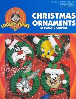 Looney Tunes Christmas Ornaments plastic canvas patterns