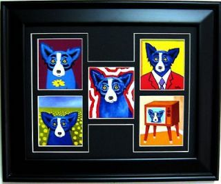 GEORGE RODRIGUE BLUE DOG NOTE CARD COLLAGE   FRAMED   BLACK MAT   17.5