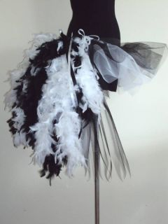 Burlesque Tutu Skirt BlacK / WhiTe Feathers 6/12 SEXY