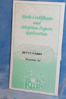 Cabbage Patch Kids Vintage Girl Birth Certificate Betty Fanny 11/1