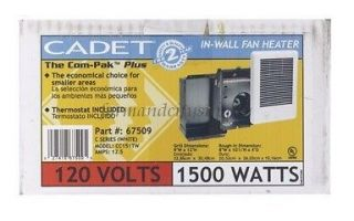 CADET 67509 COM PAK PLUS 2000 SERIES WALL HEATER 1500 WATTS 120V 9W x