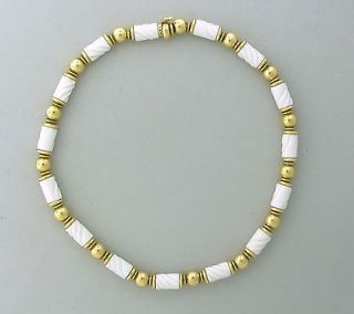 BVLGARI BULGARI 18K YELLOW GOLD WHITE CERAMIC NECKLACE