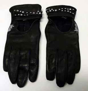New XS womens Harley Davidson black leather gloves open back studs