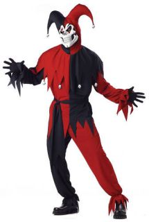 NEW Adult Men Evil Jester Scary Skull Halloween Costume