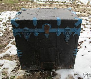 Vintage Solid Black Blue Trim 4 Drawer Trunk Chest Storage
